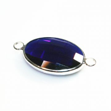 22*15mm dark blue oval crystal connector